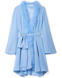 Rosamosario - Peter Pan Feather-trimmed Crystal-embellished Silk-georgette  Robe - Lyst 04685cbce