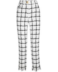 Balmain - Frayed Checked Tweed Straight-leg Trousers - Lyst