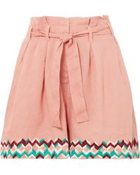 All Things Mochi - Paula Embroidered Linen Shorts - Lyst