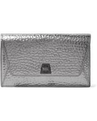 Akris - Anouk Envelope Metallic Textured-leather Clutch - Lyst