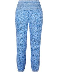 HATCH - Ziggy Smocked Floral-print Cotton-voile Tapered Trousers - Lyst