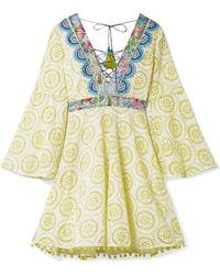 Matthew Williamson - Deia Fiesta Printed Silk-trimmed Broderie Anglaise Cotton Dress - Lyst