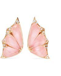 Stephen Webster - Fly By Night 18-karat Rose Gold, Opal And Diamond Earrings - Lyst
