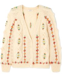 Mes Demoiselles - Chelsea Embroidered Cable-knit Mohair-blend Cardigan - Lyst