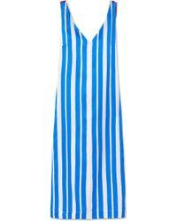 Mother Of Pearl - Maisie Striped Silk-satin Midi Dress - Lyst
