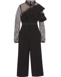 Self-Portrait - Cropped Ruffled Guipure Lace And Crepe Jumpsuit - Lyst