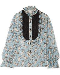 Anna Sui - Ruffled Crochet-trimmed Printed Silk-chiffon Blouse - Lyst