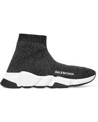 Balenciaga - Speed Logo-print Metallic Stretch-knit High-top Trainers - Lyst