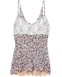 Chloé - Lace-paneled Floral-print Georgette Camisole - Lyst