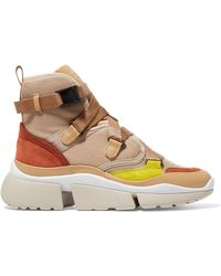 Chloé - Sonnie Canvas, Mesh, Suede And Leather High-top Sneakers - Lyst