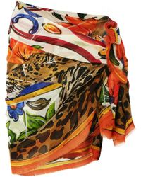 Dolce & Gabbana - Printed Cashmere And Silk-blend Pareo - Lyst