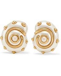 Kenneth Jay Lane - Gold-tone Faux Pearl Clip Earrings - Lyst