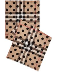Burberry - Polka-dot Checked Wool And Silk-blend Scarf - Lyst