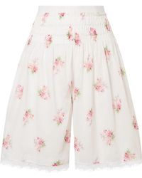 Brock Collection - Scarlett Lace-trimmed Shirred Floral-print Cotton-voile Shorts - Lyst