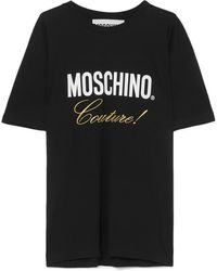 Moschino - Embroidered Printed Cotton-jersey T-shirt - Lyst
