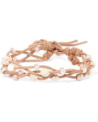Chan Luu - Suede, Pearl And Silver-tone Bracelet - Lyst