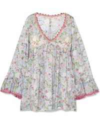 Anjuna - Nelly Crochet-trimmed Floral-print Cotton-voile Dress - Lyst