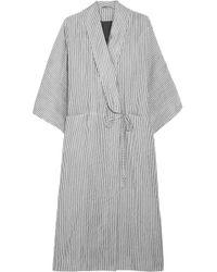 Three Graces London - Constance Striped Cotton-blend Robe - Lyst