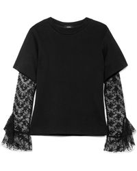 Goen.J | Layered Cotton-blend Jersey And Lace Top | Lyst
