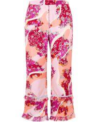 Emilio Pucci - Fringed Printed Silk-twill Wide-leg Pants - Lyst