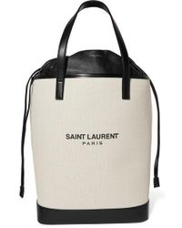 Saint Laurent Teddy Leather-trimmed Printed Canvas Tote