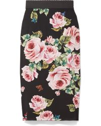 Dolce & Gabbana - Floral-print Stretch-silk Charmeuse Midi Skirt - Lyst