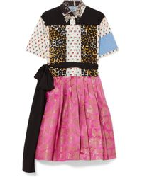 Prada - Printed Cotton-poplin And Metallic Brocade Mini Dress - Lyst