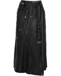 Alexander McQueen - Textured-leather Midi Skirt - Lyst
