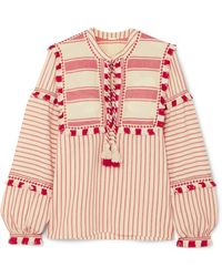 Dodo Bar Or - Emmanuelle Striped Embroidered Cotton Blouse - Lyst