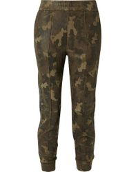 SPRWMN - Leather-trimmed Camouflage-print Suede Track Pants - Lyst