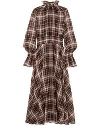 Beaufille - Shirred Checked Cotton And Silk-blend Maxi Dress - Lyst