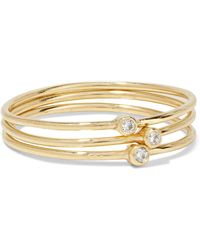 Jennifer Meyer - Set Of Three 18-karat Gold Diamond Rings - Lyst