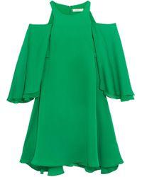 Halston - Cold-shoulder Ruffled Twill Mini Dress - Lyst