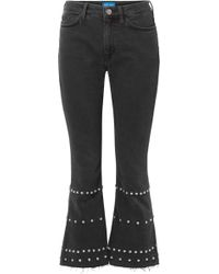 M.i.h Jeans - Marty Cropped Studded High-rise Flared Jeans - Lyst