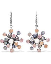 Bottega Veneta - Oxidized Silver, Crystal And Pearl Earrings Silver One Size - Lyst