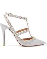 Valentino - Garavani The Rockstud Suede Court Shoes - Lyst