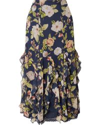 Alice + Olivia - Uma Ruffled Lace-trimmed Silk-chiffon Maxi Skirt - Lyst