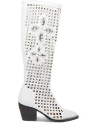 Chloé - Rylee Cutout Woven Leather Knee Boots - Lyst