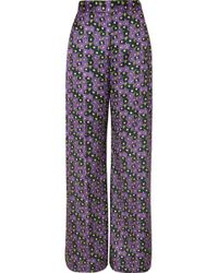 Lela Rose - Pantalon Large En Serge Satinée À Imprimé Fleuri - Lyst