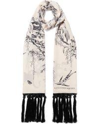 Alexander McQueen - Tasseled Printed Silk Crepe De Chine Scarf - Lyst