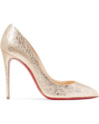 1a7cae79336 Christian Louboutin - Pigalle Follies 100 Metallic Crinkled-leather Court  Shoes - Lyst