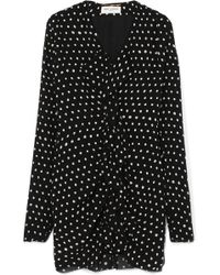 Saint Laurent - Ruffled Polka-dot Crepe Mini Dress - Lyst