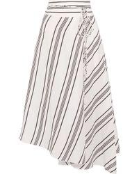 Apiece Apart - Rosehip Asymmetric Striped Linen And Silk-blend Wrap Midi Skirt - Lyst