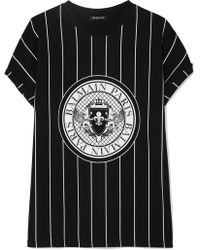 Balmain - Printed Cotton-jersey T-shirt - Lyst