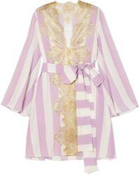 Rosamosario - Wallah, Let's Stripes Lace-trimmed Silk Pyjama Jacket - Lyst