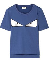 99b7961204896 Lyst - Fendi Embellished Lamé And Stretch-cotton Jersey T-shirt in White