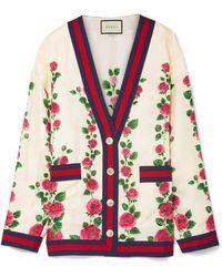Gucci - Grosgrain-trimmed Floral-print Silk-satin Cardigan - Lyst