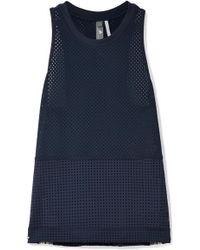 adidas By Stella McCartney - Striped Climacool Stretch-mesh Tank - Lyst