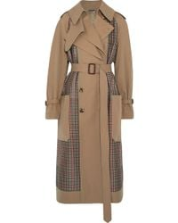 Alexander McQueen - Gabardine And Prince Of Wales Checked Tweed Trench Coat - Lyst
