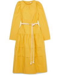 Atlantique Ascoli - Datcha Belted Ruffled Textured Cotton-canvas Midi Dress - Lyst